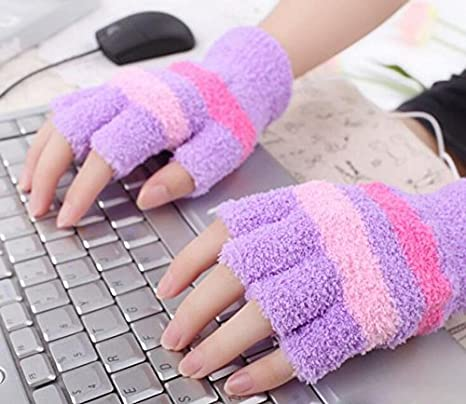 Blue 1 Pair Fingerless Gloves USB 2.0 Heated Stripe Design Winter Warm Plush Laptop Mittens Hand Warmer for Women Teen Girls