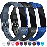 For Fitbit Alta HR and Alta Bands - Konikit Soft Replacement Wristband with Metal Buckle Clasp for Alta HR and Fitbit Alta Smart Fitness Tracker - Pack of 3 (Black+Royal Blue+Slate)