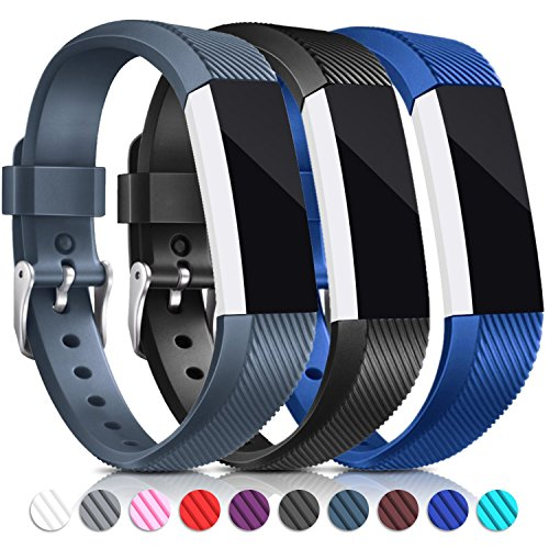 Do It Yourself Sports Costumes (For Fitbit Alta HR and Alta Bands, Konikit Soft Replacement Wristband with Metal Buckle Clasp for Alta HR and Fitbit Alta Smart Fitness Tracker, Pack of 3 (Black+Royal Blue+Slate))