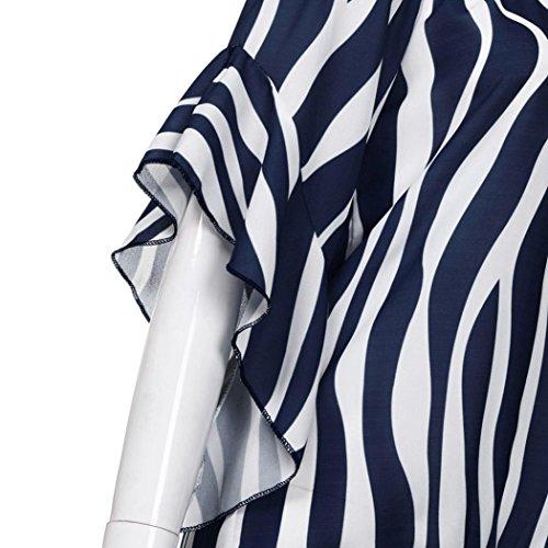Irregolare Scuro Magliette Senza Loose Eleganti Cravatta Corta A Manica Dress Sexy Camicetta Casual Tops Manica Moda Donne T Maglietta Blu Top NINGSUN Strisce Spalline Shirt Mezza I4vB6q