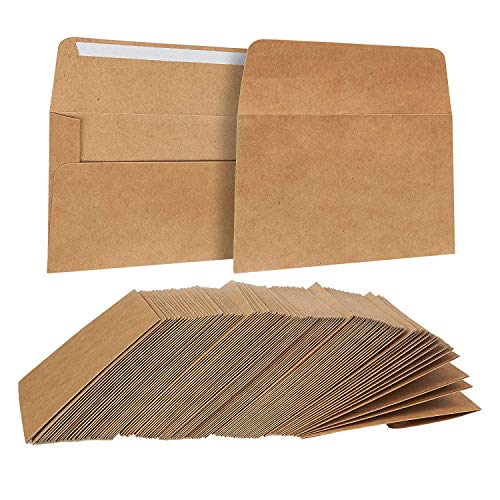 100-Count A2 Invitation Envelopes, Kraft Paper Envelopes for 5 x 4 Inch Wedding, Baby Shower, Party Invitations, Square Flap Photo Envelopes, Brown, 5.75 x 4.375 Inches ()