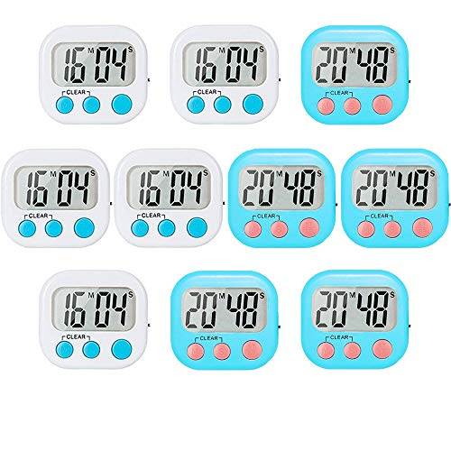 10 Pack Small Digital Timer for Kids Classroom Timers for Teacher Strong Magnetic Loud Alarm Minute Second Count Up Countdown White and Blue -