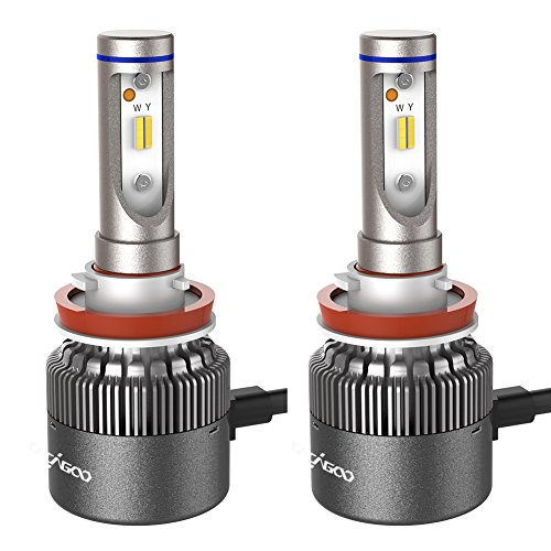 Headlamp Auto Car - CACAGOO H8/ H9/ H11 LED Headlight Bulbs, Auto Headlamp Dual Beam Car Headlight 60W Conversion Kit with CSP Chips 7600LM 6500K Cool White/ 3000K Yellow