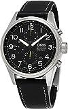 Oris Big Crown ProPilot Chronograph Mens Stainless Steel 44mm Black Face Oris Watch - Black Leather Strap Swiss Automatic Watch 01 774 7699 4134-07 5 22 19FC