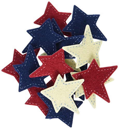 Darice FLT-1017 Darice, 48 Piece, Felties Felt Stickers, Stitched Stars,,