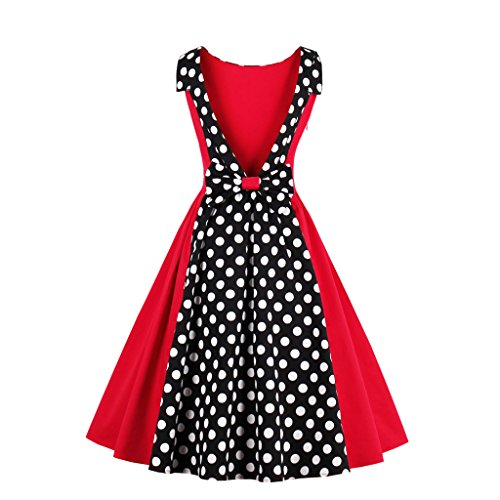 Retro EU 50er Vintage M1367 M DISSA Rockabilly Cocktail Damen Kleid Rot 38 gq1axwt7
