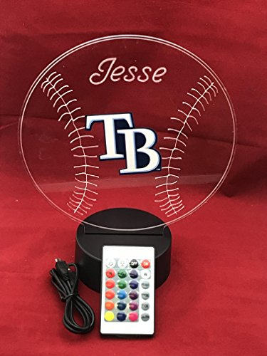Rays MLB Light Up Lamp LED With Remote Personalized Free (Multi-colored, 12 Inches)