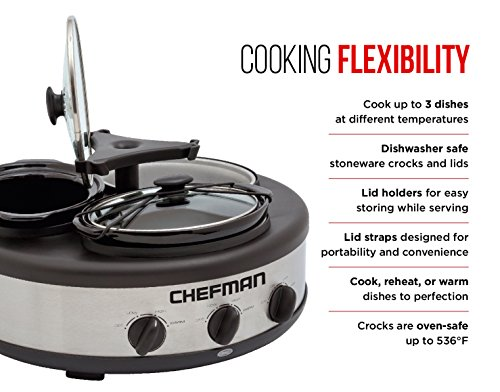 Chefman Triple Slow Cooker & Buffet Server with 3 Removable 1.5 Qt. Oval Crocks, Pot Inserts Individually Heat Controlled, Locking Lid Straps, Spoon & Lid Rests, Stainless Steel by Chefman (Image #1)