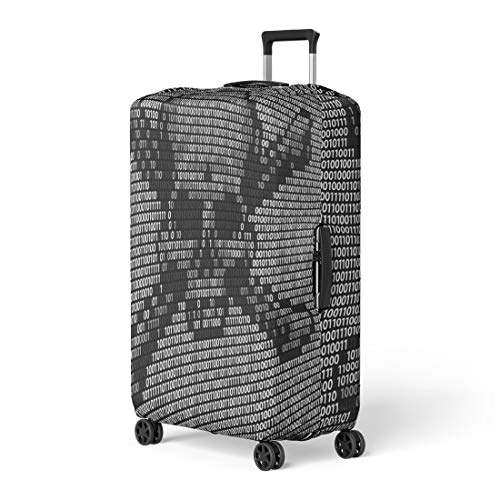 Pinbeam Luggage Cover Skull and Crossed Bones Danger Piracy Sign Made Travel Suitcase Cover Protector Baggage Case Fits 26-28 inches (Best Antivirus For Pirates)