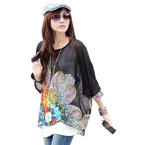 - Lookatool Women's Batwing Sleeve Chiffon Shirt Bohemian Tops Oversized Blouse