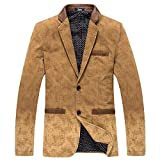 YUNY Men's Classics Autumn Solid Lounge Retro Suit Jacket Blazer Camel 2XL