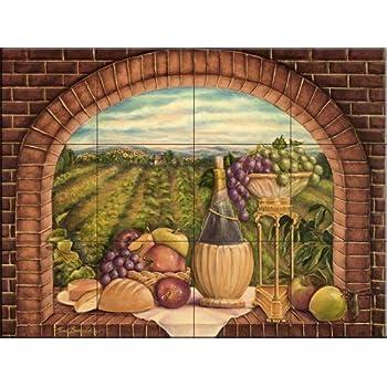 This item Ceramic Tile Mural - Tuscan Wine II - by Rita Broughton - Kitchen  backsplash / Bathroom shower