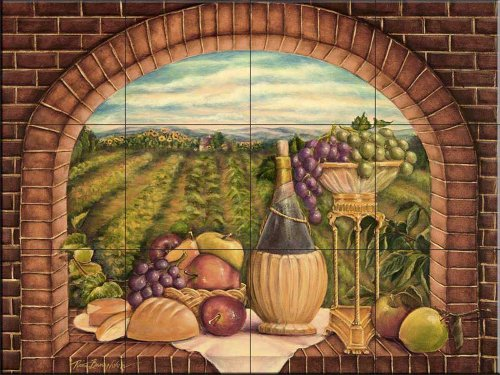 Ceramic Tile Mural - Tuscan Wine II - by Rita Broughton - Kitchen backsplash/Bathroom shower