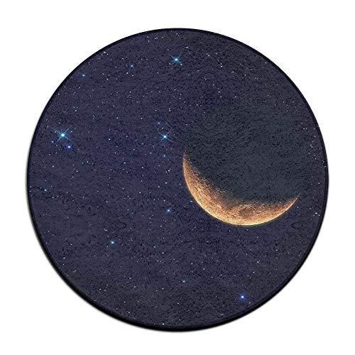 Laurel Non-Slip Round Rug Crescent Moon Entrance Doormat Floor Pet Kids Mat Shoes Scraper Diameter 23.6 Inch