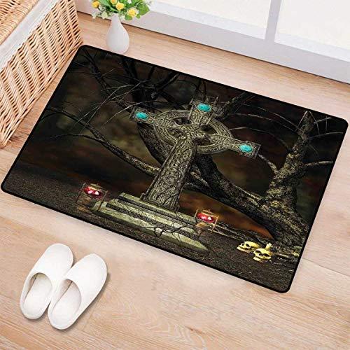 Tombstone Comfort Grip - Gothic Decor,Door Mat Small Rug,Gothic Cross Tree Grave Skulls Tombstone Lanterns Graveyard Night Art,Bath Mat 3D Digital Printing Mat,Size:16