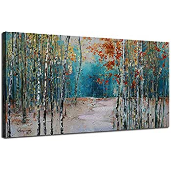 Ardemy Canvas Wall Art White Birch Trees Picture Painting One Panel Blue Forest Landscape, Modern Nature Artwork Plants Prints Extra Large Framed for Home Office Bedroom Living Room Wall Decor 60