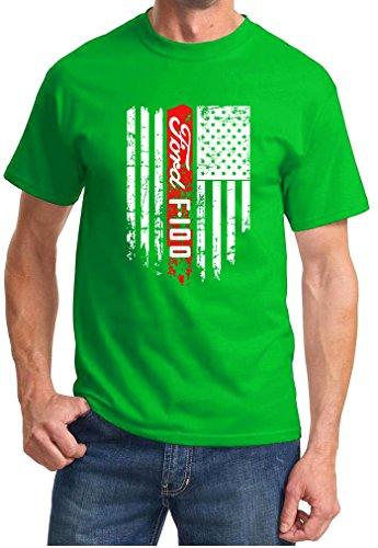 - Ford F-100 F100 Pickup Truck Patriotic Classic Car Design Tshirt 2XL green