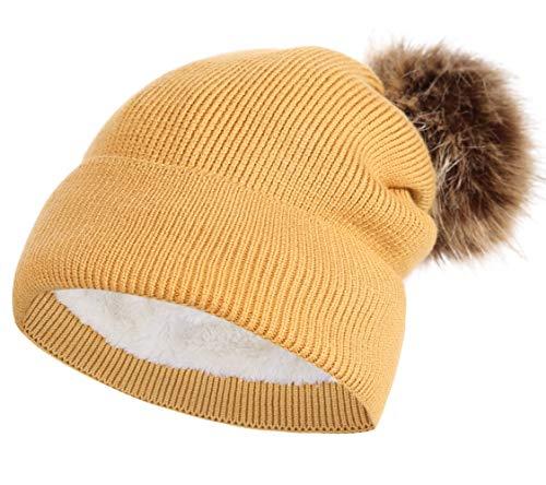 3fb892a3 NEOSAN Pom Pom Women Knit Cuffed Chunky Skull Hats Beanie Lining Cap Mustard