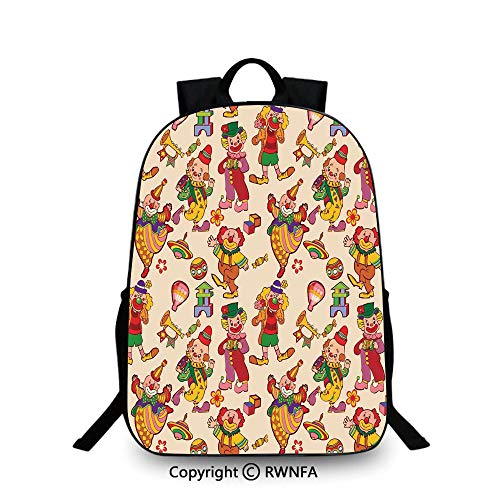 Travel waterproof schoolbag,Cartoon Circus Patterns Comedian Musical Toy Pleasure Hot Air Balloon Backpack Cool Children Bookbag,