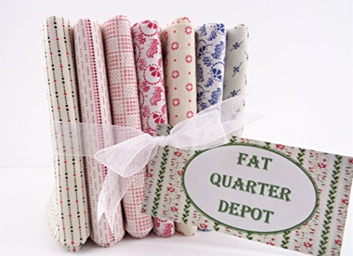 Fat Quarter Bundle 7 Red White Blue Shirting Prints Cotton Fabrics -