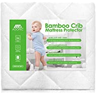 Adoric Baby Waterproof Crib Mattress Pad Cover, Premium Hypoallergenic Breathable Bamboo Fiber, Ultra Comfortable Toddler Bed Fitted Mattress Protector - White