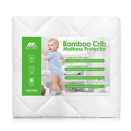 Adoric Baby Waterproof Crib Mattress Pad Cover, Premium Hypoallergenic Breathable Bamboo Fiber, Ultra Comfortable Toddler Bed Fitted Mattress Protector - White from Adoric