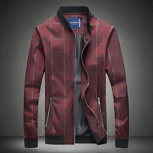 la rojo de del y Hombres hombre otoño versión en XXXL la personalidad una números chaqueta primavera de la de coreana chaqueta grandes cuadrícula el hombre de vqqxtSI