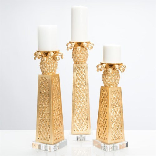 Couture Home CTCS3439G Golden Pineapple Candle Holders (Set of 3)