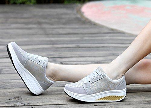 Weight Heel Go Walking Running Solshine Wedge Grey Light Women's 3 Platform Fitness Athletic Shoes Ex0nAwqHYC