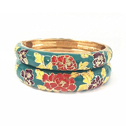 nal Bracelets Jewelry Women Enamel Peony Floral Bangles Sets Gift Box 55C48 green ()