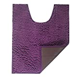 FindNew Soft Shaggy U-Shaped Contour Bath Rug, Toilet Floor Mat Bathroom Carpet, Washable and Absorbent,20 X 24 inches (Violet-TPR)