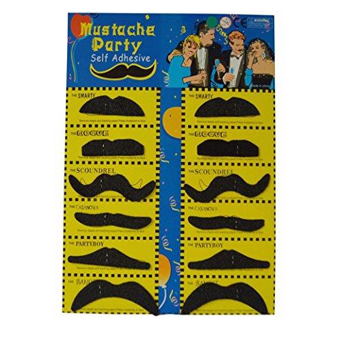 [Fullkang Hot 12pcs Costume Party Halloween Funny Fake Mustache Moustache Beard Whisker Black] (Fake Beards That Look Real)