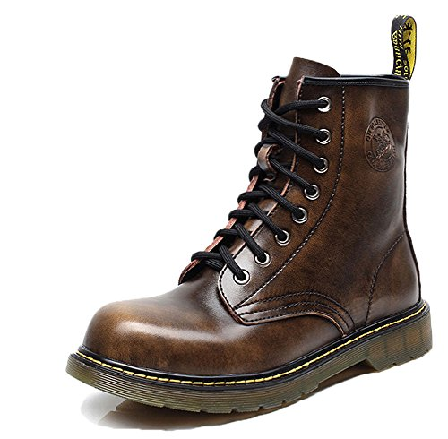 Plaid&Plain Mens Lace Up Leather Round Toe Service Boots Work Boots A-brown ynuCIngzI