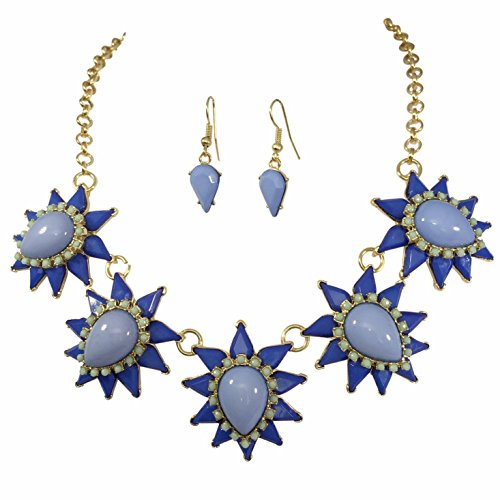 Gypsy Jewels Teardrop Cluster Burst Dot Multi Color Bubble Gold Tone Boutique Statement Necklace Earrings Set (BLUE WITH MINT GREEN)