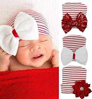 aca33b34e57 XiFe Newborn Baby Girl Nursery Beanie Warm Hospital Hat with Sparkle  Bowknot Cap
