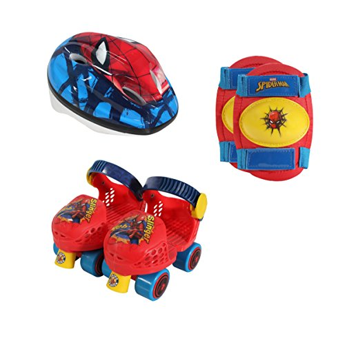 Playwheels Spider-Man Roller Skates with Knee Pads and Helmet, Junior Size 6-12