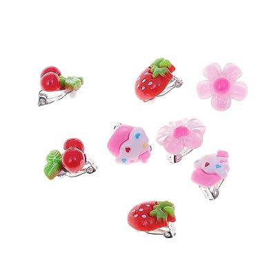 Toyvian Girls Play Earrings Viste a la joyería Cute Kids Clip-on Earrings Girls Ear Clip Birthday Gift Princesa Pretend Play 8 Pares (Fresa + Cereza + Helado + Flor, 2 Pares Cada una): Productos para mascotas