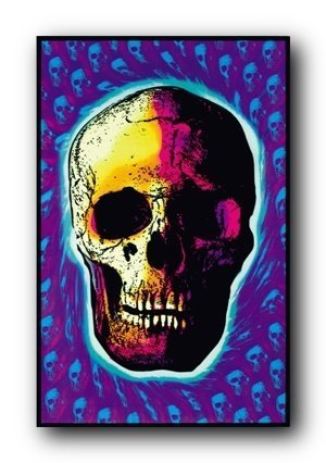 Skull Trip Psychedelic Blacklight Poster Print by Poster Re