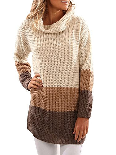 SUNMMWERY Women Color Block Tunic Turtleneck Knit Long Sleeve Sweater Pullover