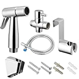 VOVA Handheld Bidet Sprayer Shattaf For Toilet, Cloth Diaper Sprayer with T-valve Bathroom Hand Shower self cleaning, Bidet Faucet, Bidet Gun - ABS White Chrome, bidet attachment (dibet A)