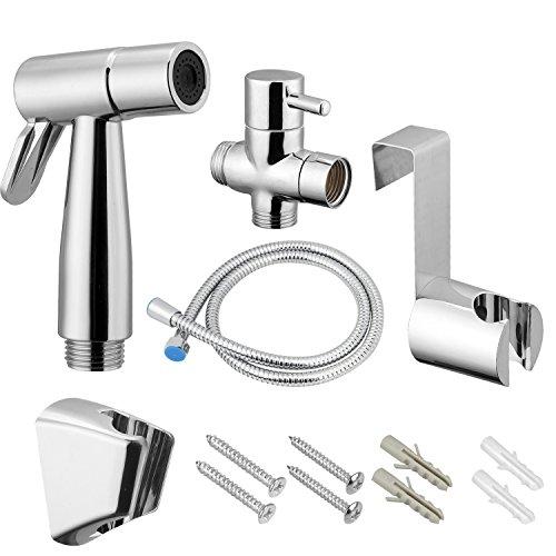 VOVA Handheld Bidet Sprayer Shattaf For Toilet, Cloth Diaper Sprayer with T-valve Bathroom Hand Shower self cleaning, Bidet Faucet, Bidet Gun - ABS White Chrome, bidet attachment (dibet A) by VOVA