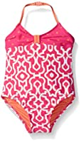Tommy Bahama Girls' Little One Piece Halter Swimsuit, Pink, 6