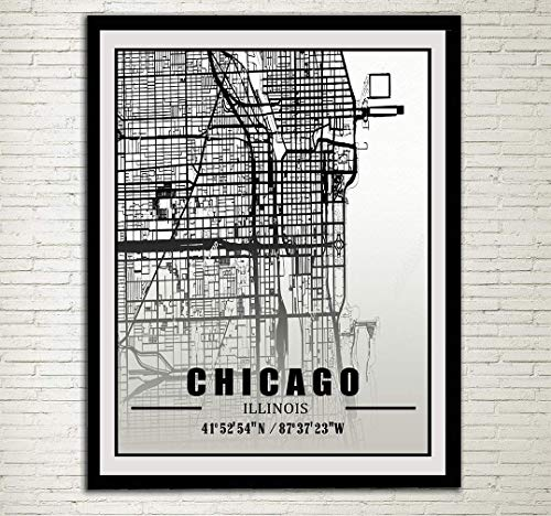 Chicago City Map Print Chicago Street Map Chicago Coordinate Art Poster Illinois IL USA Wall Decor City Street Road Map Wall Art Travel Artworks