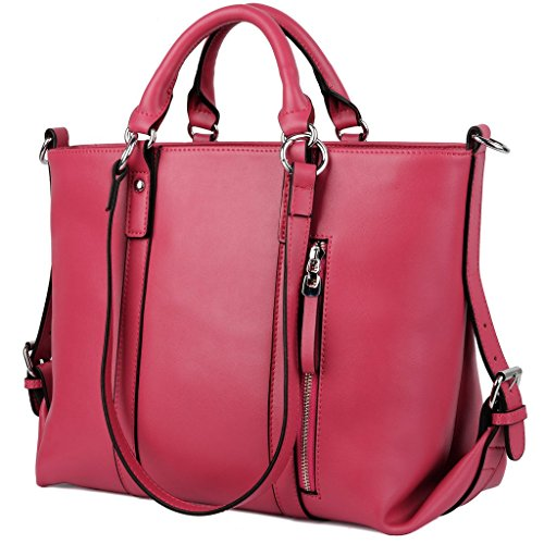 Pink Leather Tote Bag (YALUXE Women's Urban Style 3-Way Leather Work Tote Shoulder Bag Pink)