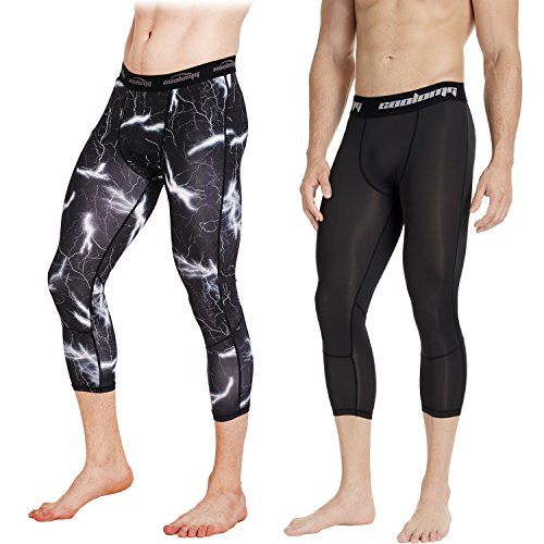 COOLOMG 2 Packs Men's Compression Pants 3/4 Tight Pants Base Layer Running Leggings Quick Dry for Men Youth Boy Black Black Lightning(3/4 length) Adults X-Small(Youth Large)