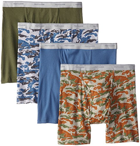 Fruit of the Loom Men's Print Solid  X-Size Boxer Brief, Assorted, 3X-Large(Pack of 4) ()