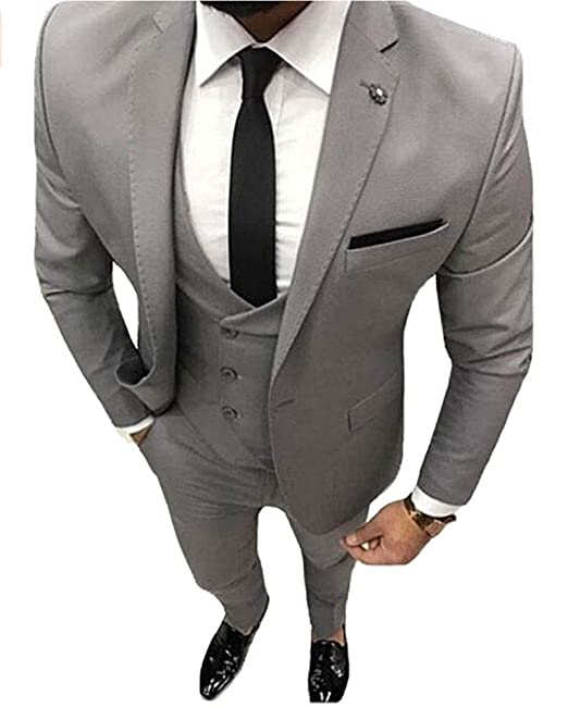 5b2b76cb0c7 Grey Men's Suits 3 PC One Button Wedding Suit Slim Fit Groom Tuxedos Grey  42 Chest