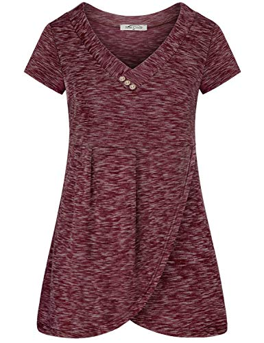 (SeSe Code V Neck T Shirts Women,Ladies Clothes Short Sleeve V Neck Casual Tshirt Asymmetrical Wrap Hem Knitted Regular Fit Holiday Simple Daily Life Space Dye Wine Medium)