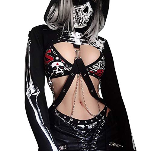 (Enfei Halloween Womens Skull Hollowed Hoodies Bandage Metal Crop Tops Hooded Pullover Sweatshirts for Gothic Girl Black )