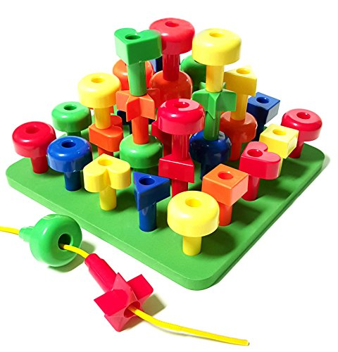 Lacing Shapes and Colors Pegboard Building Puzzle Set